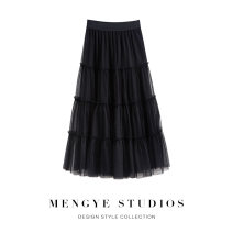 skirt Spring 2021 Average size Mid length dress commute High waist Fluffy skirt Solid color Type A 25-29 years old More than 95% other Dream page other Gauze Korean version Other 100% Pure e-commerce (online only)