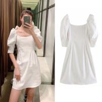 Dress Spring 2020 white XS,S,M,L Short skirt singleton  Short sleeve commute square neck High waist Solid color Socket A-line skirt puff sleeve Type A XU ZARA UR Pleated, zipper