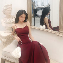 Dress Summer 2021 Black, red XL,2XL,L,M Mid length dress singleton  commute High waist Solid color Socket Big swing camisole 18-24 years old Aiyiyanpin Printed, pleated, open back other polyester fiber
