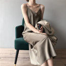 Dress Summer 2021 Black olive green metallic coffee S M L XL longuette singleton  Sleeveless commute V-neck Loose waist Solid color Socket A-line skirt other camisole 25-29 years old Poetry and beauty B04032250 More than 95% other other Other 100% Pure e-commerce (online only)