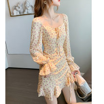 Dress Autumn 2020 White yellow S M L Middle-skirt singleton  Long sleeves commute One word collar High waist Decor Socket A-line skirt Petal sleeve 18-24 years old Type A Stringing More than 95% Chiffon polyester fiber Polyester 100% Pure e-commerce (online only)
