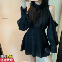 Women's large Autumn 2020 black S M L Dress singleton  commute Self cultivation Socket Long sleeves lattice Korean version stand collar Medium length bishop sleeve GTai2063A-1376 Rain flowers and birds 18-24 years old Button 91% (inclusive) - 95% (inclusive) Short skirt Other 100% Ruffle Skirt