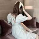 Women's large Spring 2021 White black S M L Dress singleton  commute Socket Short sleeve Korean version square neck Three dimensional cutting puff sleeve Y510 Xia Qilin 18-24 years old backless Other 100% bow