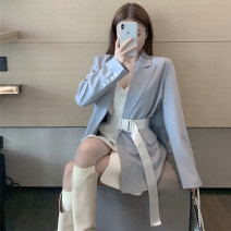 Women's large Autumn 2020 S M L Jacket / jacket Two piece set commute Self cultivation moderate Cardigan Long sleeves Solid color Korean version V-neck Medium length Three dimensional cutting routine Xia Qilin 18-24 years old belt Short skirt Other 100% other