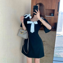 Women's large Spring 2021 black S M L Dress singleton  commute Self cultivation moderate Socket Short sleeve Solid color Korean version Crew neck Three dimensional cutting other Xia Qilin 18-24 years old Resin fixation Middle-skirt Other 100% other