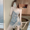 Women's large Spring 2021 Malachite blue S M L Dress singleton  commute Self cultivation thin Socket Sleeveless Korean version V-neck have cash less than that is registered in the accounts Three dimensional cutting y503 Xia Qilin 18-24 years old Lace stitching Short skirt Other 100% Irregular skirt