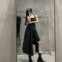 Women's large Summer 2021 black S M L Dress singleton  commute moderate Socket Sleeveless Solid color Korean version square neck Medium length fold Y173 Xia Qilin 18-24 years old Other 100% Irregular skirt