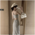 Women's large Summer 2021 Black light grey S M L Dress singleton  commute Self cultivation moderate Socket Solid color Korean version square neck Three dimensional cutting Xia Qilin 18-24 years old backless longuette Other 100% other