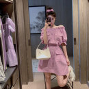 Women's large Summer 2020 White violet S M L XL Dress singleton  commute Self cultivation moderate Socket Short sleeve Solid color Korean version One word collar Three dimensional cutting puff sleeve Z0282 Xia Qilin 18-24 years old pocket 81% (inclusive) - 90% (inclusive) Middle-skirt Other 100%