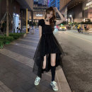 Women's large Summer 2020 black S M L Dress singleton  commute easy Socket Short sleeve Solid color Retro square neck other Three dimensional cutting puff sleeve W61110 Xia Qilin 18-24 years old Swallow tail Medium length Other 100% Irregular skirt