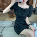 Women's large Summer 2020 White, black, purple S M L Dress singleton  commute Self cultivation Socket Short sleeve Solid color Retro One word collar fold routine A251 Xia Qilin 18-24 years old Middle-skirt Other 100%
