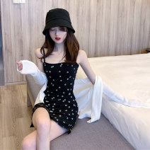 Women's large Summer 2020 Black {dress} white {cardigan} S M L Dress Two piece set commute Self cultivation moderate Socket Broken flowers Retro square neck Three dimensional cutting Z0112 Xia Qilin 18-24 years old Resin fixation Short skirt Other 100%