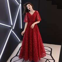 Dress / evening wear other longuette middle-waisted Winter of 2019 Pleats Deep collar V elbow sleeve Embroidery Other / other machine embroidery