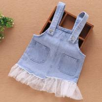 Dress wathet female Other / other 80cm,90cm,110cm,120cm,100cm Cotton 90% other 10% summer lady Strapless skirt Solid color cotton Denim skirt BWMCEY other 12 months, 18 months, 2 years old, 3 years old, 4 years old Chinese Mainland