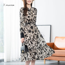 Dress Spring 2021 Decor S M L XL longuette singleton  Long sleeves commute stand collar High waist Decor Socket A-line skirt routine Others 30-34 years old Type A Crabapple printing H0167 More than 95% other silk Mulberry silk 100% Pure e-commerce (online only)