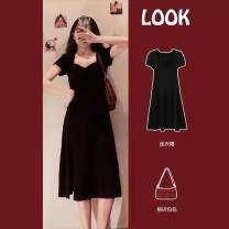 Women's large Summer 2021 Black little black skirt S M L XL Dress Two piece set commute Socket Short sleeve V-neck routine anjindabaokuan Charming Naizi 18-24 years old 81% (inclusive) - 90% (inclusive) Medium length Cotton 100% Pure e-commerce (online only)