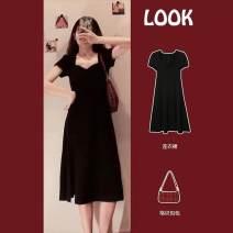 Women's large Summer 2021 Black little black skirt S M L XL Dress Two piece set commute Socket Short sleeve V-neck routine anjindabaokuan Charming Naizi 18-24 years old 81% (inclusive) - 90% (inclusive) Medium length Cotton 100% Pure e-commerce (online only)