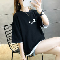 T-shirt Black blue yellow M L XL XXL Summer 2021 Short sleeve Crew neck Fake two pieces Regular routine commute other 96% and above 18-24 years old Korean version other wcgu WCGU-6007 Other 100% Pure e-commerce (online only)