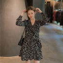 Dress Autumn 2020 black S,M,L Short skirt singleton  Long sleeves commute V-neck High waist Dot Socket A-line skirt routine Others 18-24 years old Type A Other / other Korean version Lotus leaf edge LYQ20201023006 91% (inclusive) - 95% (inclusive) other polyester fiber