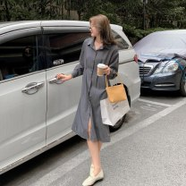 Dress Autumn 2020 grey S,M,L Mid length dress singleton  Long sleeves commute Polo collar High waist Solid color Single breasted A-line skirt shirt sleeve Others 18-24 years old Type A Other / other Korean version Strap, button LYQ0303 91% (inclusive) - 95% (inclusive) other polyester fiber
