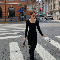 Dress Autumn 2020 black S,M,L longuette singleton  Long sleeves commute square neck High waist Solid color zipper A-line skirt routine Others 18-24 years old Type A Other / other Korean version zipper LYQ20201117001 51% (inclusive) - 70% (inclusive) knitting acrylic fibres