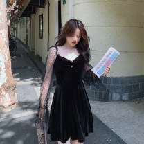 Dress Autumn 2020 black S,M,L Short skirt singleton  Long sleeves commute One word collar High waist Solid color Single breasted A-line skirt routine Others 18-24 years old Type A Other / other Korean version Splicing, mesh LYQ2020930001 91% (inclusive) - 95% (inclusive) other polyester fiber