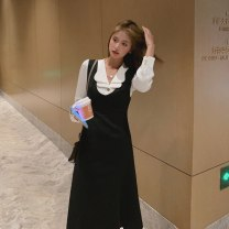 shirt White shirt, black suspender skirt S,M,L Autumn 2020 polyester fiber 91% (inclusive) - 95% (inclusive) Long sleeves commute Regular Double collar Single row multi button routine Solid color 18-24 years old Straight cylinder Other / other Korean version Shirt 20201022002 Button Chiffon