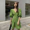 Dress Summer 2020 Green Grid S,M,L Short skirt singleton  Short sleeve commute V-neck High waist lattice Socket A-line skirt routine Others 18-24 years old Type A Other / other Korean version fold 91% (inclusive) - 95% (inclusive) other polyester fiber