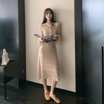 Dress Autumn 2020 Apricot, grey blue S,M,L longuette singleton  Long sleeves commute V-neck High waist Solid color Socket One pace skirt Lotus leaf sleeve Others 18-24 years old Type A Other / other Korean version fold 91% (inclusive) - 95% (inclusive) other polyester fiber