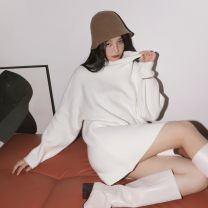 Dress Autumn 2020 White, black S,M,L Short skirt singleton  Long sleeves commute Half high collar High waist Solid color Socket A-line skirt routine Others 18-24 years old Type A Other / other Korean version LYQ20201105001 91% (inclusive) - 95% (inclusive) knitting acrylic fibres