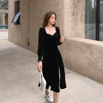 Dress Autumn 2020 black S,M,L Mid length dress singleton  Long sleeves commute square neck High waist Solid color Socket A-line skirt puff sleeve Others 18-24 years old Type A Other / other Korean version fold 91% (inclusive) - 95% (inclusive) other polyester fiber
