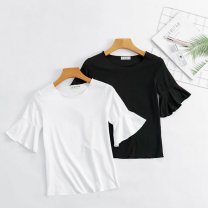 T-shirt 045 trumpet Short Sleeve White [with trumpet], 045 trumpet Short Sleeve Black [with trumpet], 046 straight short sleeve white [without trumpet], 046 straight short sleeve black [without trumpet] S,M,L,XL,2XL Short sleeve Crew neck Self cultivation pagoda sleeve other 96% and above Solid color