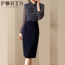 Dress Spring 2021 Decor S,M,L,XL,2XL,3XL,4XL longuette Fake two pieces Long sleeves commute middle-waisted Decor zipper One pace skirt routine 30-34 years old Ports Ol style Print, button, zipper Chiffon polyester fiber