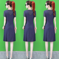 Dress Spring 2021 Black, black and white, blue and white, about to be new M,L,XL,2XL,3XL,4XL longuette Fake two pieces Short sleeve commute Crew neck A-line skirt routine Button, button Denim