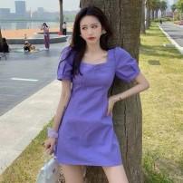Women's large Summer 2021 violet M【90 - [105 kg] , L【105 - [120 kg] , XL【120 - 135 kg] , 2XL【135 - 155kg] , 3XL【155 - 175 kg] , 4XL【175 - 200 Jin] Dress singleton  commute moderate Socket Short sleeve Korean version square neck puff sleeve 25-29 years old 81% (inclusive) - 90% (inclusive) Short skirt
