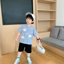 T-shirt wathet Other / other 90cm,100cm,110cm,120cm,130cm,140cm male spring and autumn Short sleeve leisure time There are models in the real shooting nothing Cotton blended fabric Solid color &X21418 2 years old, 3 years old, 4 years old, 5 years old, 6 years old, 7 years old Chinese Mainland