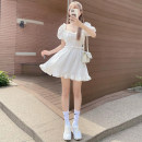 Dress Summer 2021 white S,M,L Short skirt singleton  Short sleeve commute square neck High waist Solid color Socket Princess Dress puff sleeve 18-24 years old Type A Korean version fold 81% (inclusive) - 90% (inclusive)