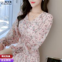 Dress Autumn 2020 Picture color (high end customized fabric) picture color (ordinary fabric) S M L XL Mid length dress singleton  Long sleeves commute V-neck Elastic waist Decor Socket Big swing bishop sleeve Others 25-29 years old Type A Pure Benny Korean version CBN170728 More than 95% Chiffon