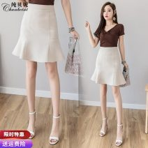 skirt Spring 2021 S M L XL 2XL Black apricot Short skirt commute High waist skirt Solid color Type A 25-29 years old 91% (inclusive) - 95% (inclusive) other Pure Benny polyester fiber Korean version Polyethylene terephthalate (polyester) 91% others 9% Pure e-commerce (online only)