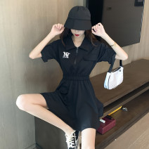 Dress Summer 2021 black S M L XL Short skirt singleton  Short sleeve commute Polo collar High waist Solid color zipper A-line skirt routine Others 18-24 years old Type A Peiluoying Button zipper More than 95% other Other 100%
