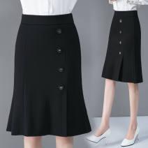 skirt Spring 2021 S 75-85,M 85-100,L 100-115,XL 115-130,2XL 130-145,3XL 145-160 Black 4 buckles, black 5 BUCKLES Mid length dress High waist skirt Button