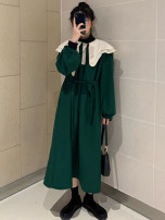 Women's large Autumn 2020 Green black M [recommended 85-110 Jin] l [110-125 Jin] XL [125-140 Jin] 2XL [140-160 Jin] 3XL [160-175 Jin] 4XL [175-200 Jin recommended] Dress singleton  Sweet other puff sleeve Yanxirong 81% (inclusive) - 90% (inclusive) Medium length Other 100% Mori
