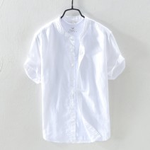 shirt Youth fashion Others M,L,XL,2XL,3XL,4XL M740 white, m740 sky blue, m740 gray, m740 khaki, m740 Navy Thin money stand collar Short sleeve Self cultivation Other leisure summer MY_ seven hundred and forty youth Other 100% tide 2020 Solid color Linen washing Button decoration