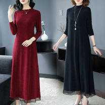 Dress Spring 2020 longuette singleton  Long sleeves Crew neck A-line skirt Other / other Stitching, sequins