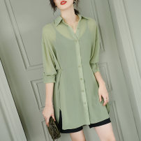 shirt green M,L,XL,2XL Summer 2021 silk 31% (inclusive) - 50% (inclusive) Long sleeves commute Medium length V-neck other shirt sleeve Solid color 30-34 years old Self cultivation Jiuzi JC  A1025-55-128 Asymmetric, 3D, thread, splicing, taping, resin fixation, lace up, fold, bandage Chiffon