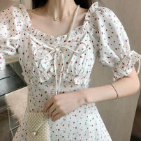 Dress Summer 2020 white S M L XL 2XL longuette singleton  Short sleeve commute square neck High waist Dot Socket A-line skirt puff sleeve Others 18-24 years old Type A Women of enterprises Korean version Bandage More than 95% other Other 100% Pure e-commerce (online only)