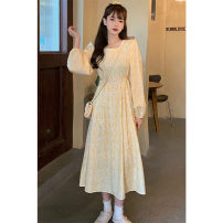 Dress Autumn 2020 canary yellow S M L XL 2XL Mid length dress singleton  Long sleeves commute Crew neck High waist Broken flowers Socket Big swing routine Others 18-24 years old Type A Women of enterprises Korean version Q200466 More than 95% other Other 100% Pure e-commerce (online only)