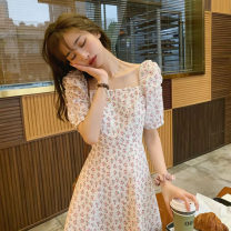Dress Summer 2020 Picture color S M L XL 2XL Short skirt singleton  Short sleeve commute square neck High waist Decor Socket A-line skirt puff sleeve Others 18-24 years old Type A Women of enterprises Korean version printing Q200259 More than 95% other other Other 100% Pure e-commerce (online only)