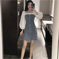 Square Dance Dress S,M,L,XL Short sleeve, long sleeve, white shirt other Short sleeve puff sleeve Short skirt female Splicing