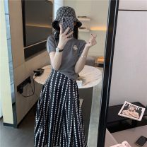 Middle aged and old women's wear Summer 2021 Grey Top + polka dot skirt S,M,L,XL commute skirt Straight cylinder Two piece set Dot Socket moderate Crew neck routine routine MAJE BRIAN cotton 96% and above Middle-skirt other Korean version